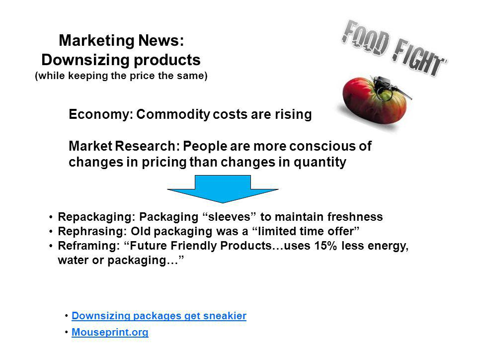 Marketing News: Downsizing products (while keeping the price the same)