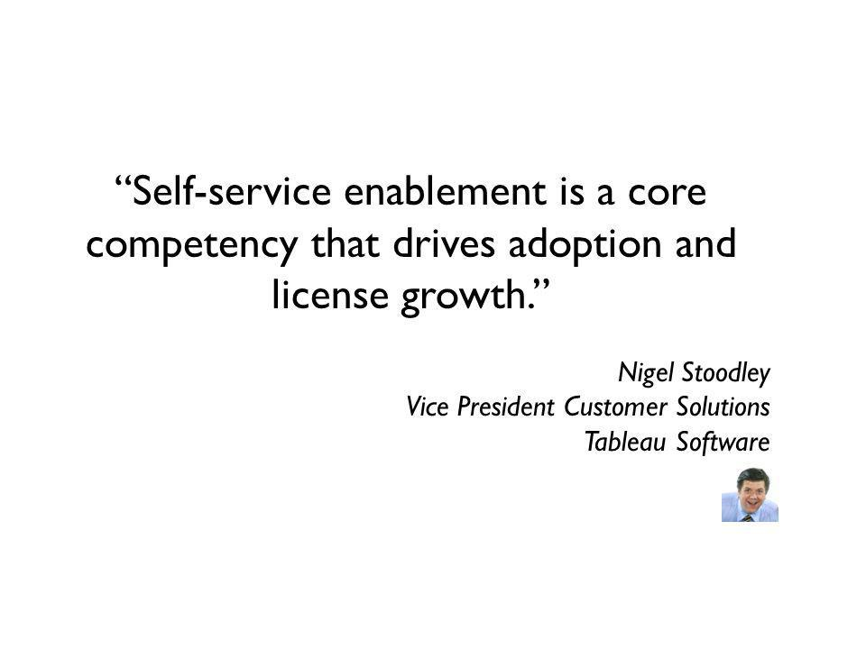 Self-service enablement is a core competency that drives adoption and license growth.