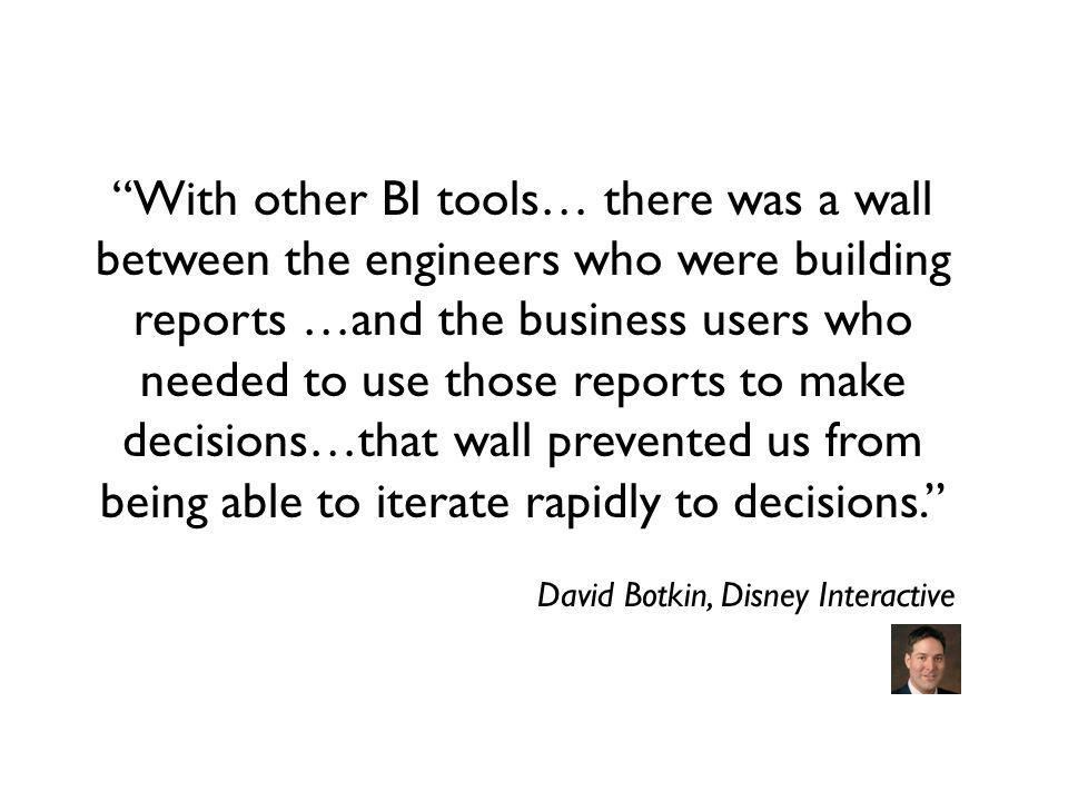 With other BI tools… there was a wall between the engineers who were building reports …and the business users who needed to use those reports to make decisions…that wall prevented us from being able to iterate rapidly to decisions.