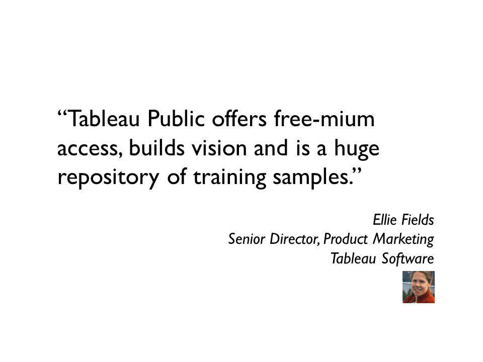 Tableau Public offers free-mium access, builds vision and is a huge repository of training samples.