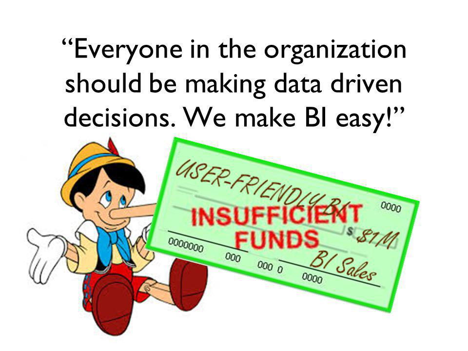 Everyone in the organization should be making data driven decisions