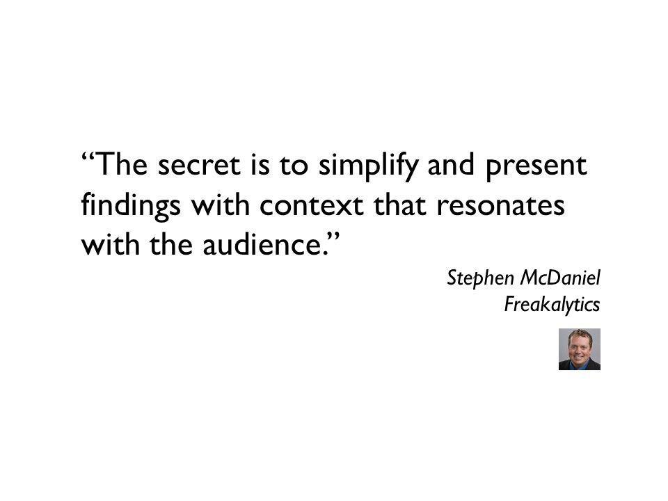 The secret is to simplify and present findings with context that resonates with the audience.