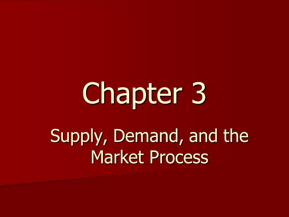 Supply, Demand, and the Market Process