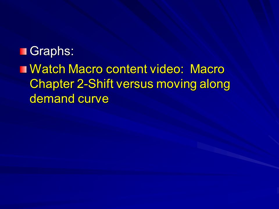 Graphs: Watch Macro content video: Macro Chapter 2-Shift versus moving along demand curve