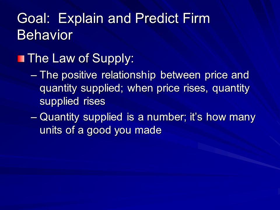 Goal: Explain and Predict Firm Behavior