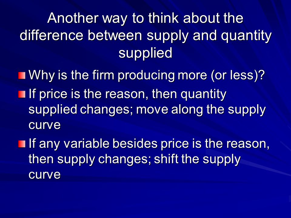 Another way to think about the difference between supply and quantity supplied