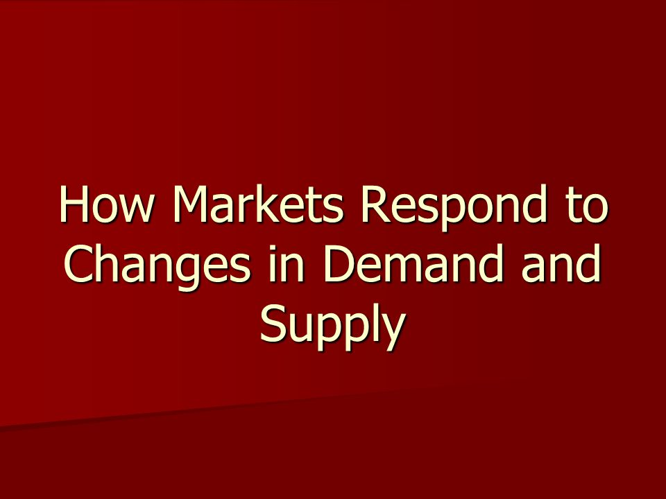 How Markets Respond to Changes in Demand and Supply