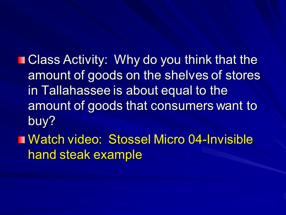 Class Activity: Why do you think that the amount of goods on the shelves of stores in Tallahassee is about equal to the amount of goods that consumers want to buy