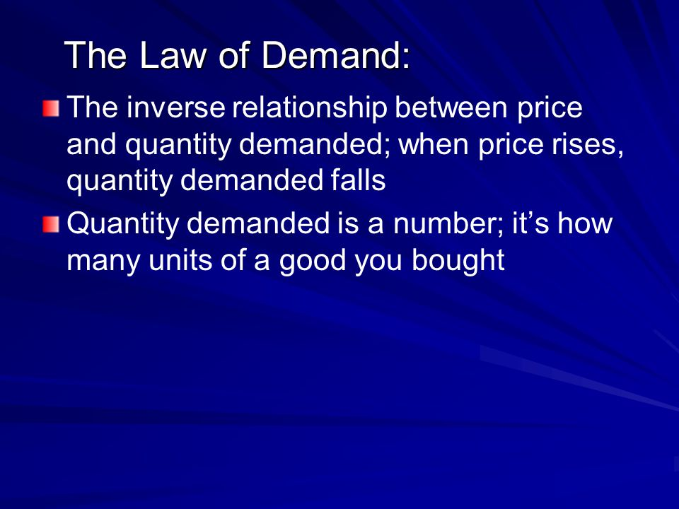 The Law of Demand: The inverse relationship between price and quantity demanded; when price rises, quantity demanded falls.