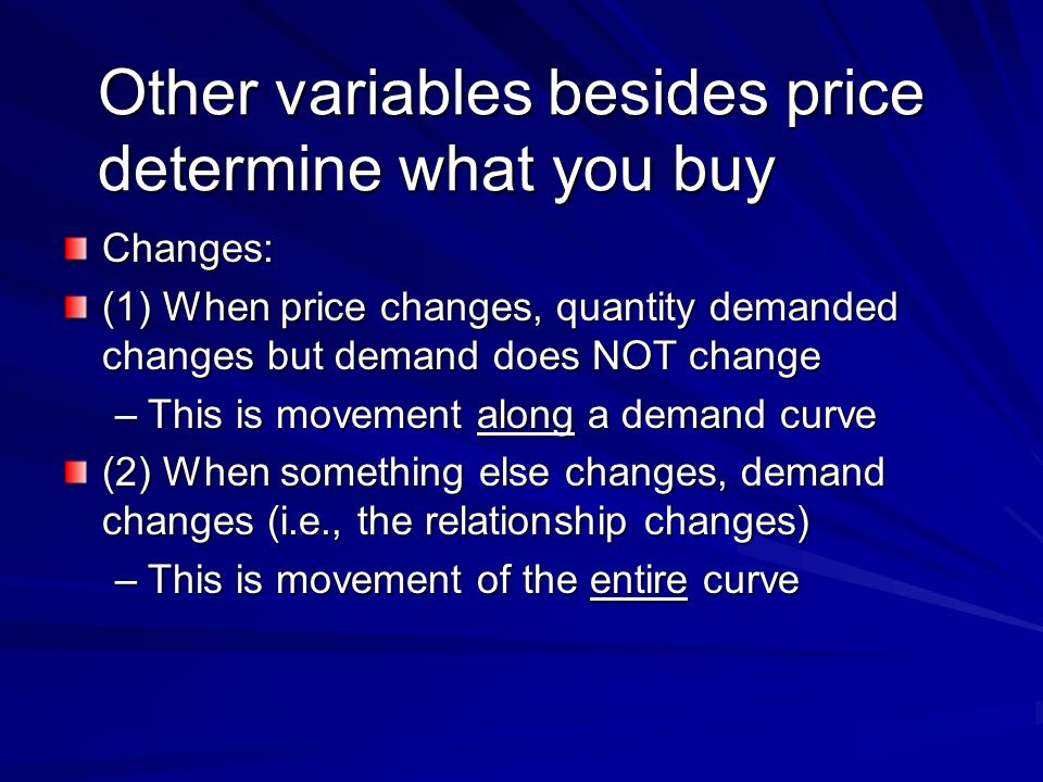 Other variables besides price determine what you buy