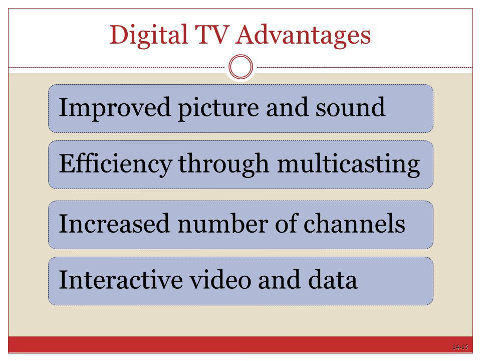 Digital TV Advantages Improved picture and sound
