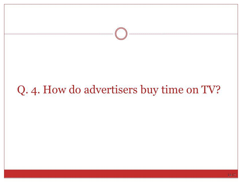 Q. 4. How do advertisers buy time on TV