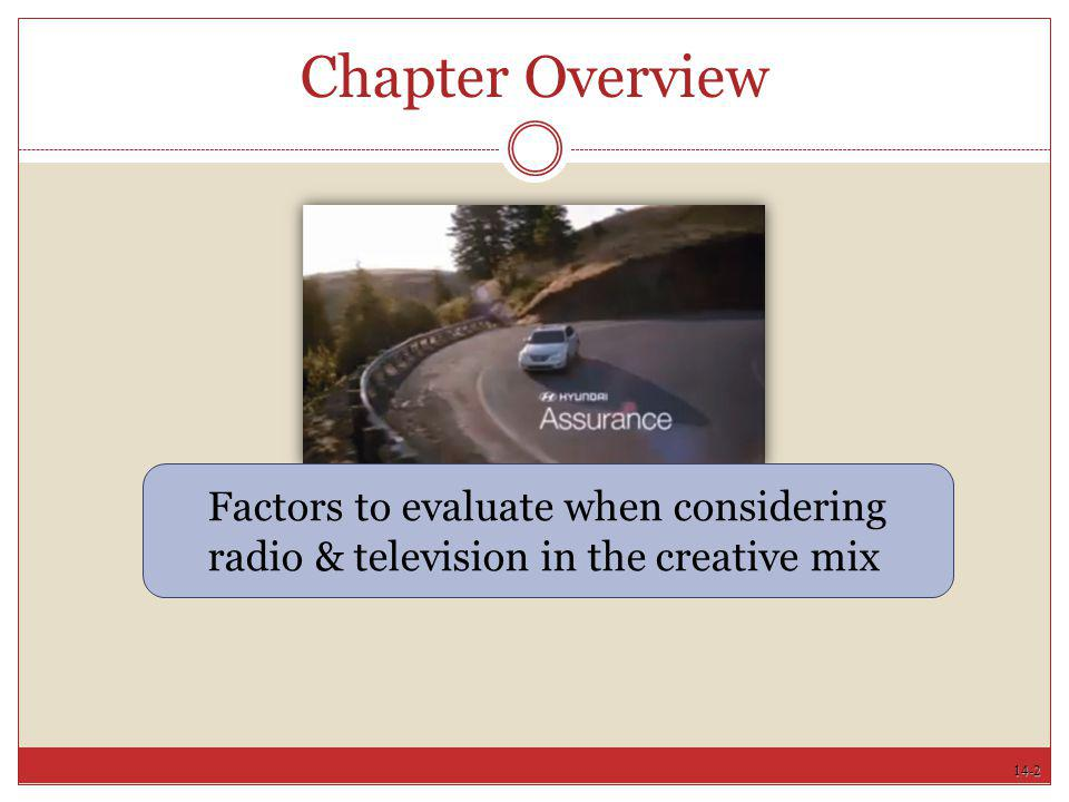 Chapter Overview Factors to evaluate when considering radio & television in the creative mix