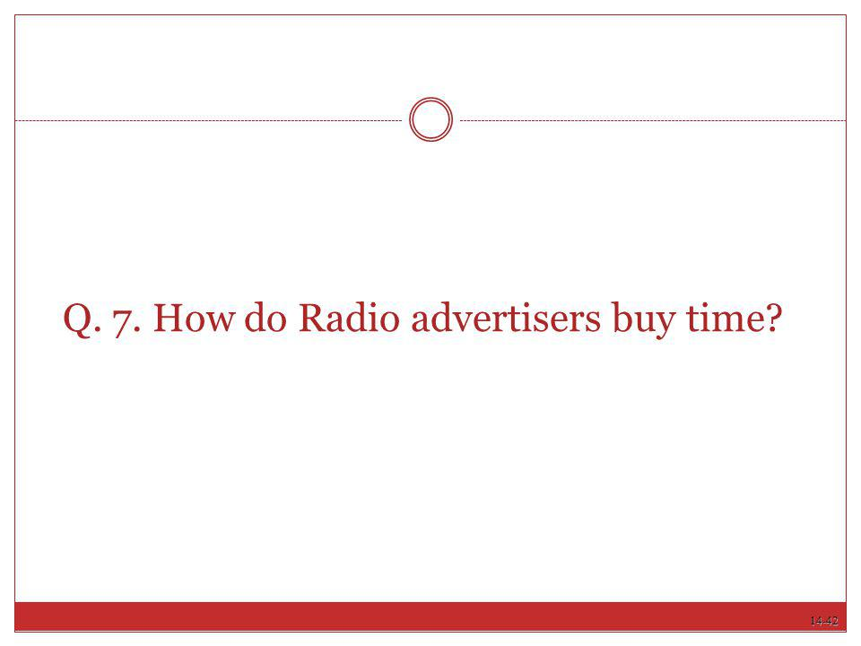 Q. 7. How do Radio advertisers buy time