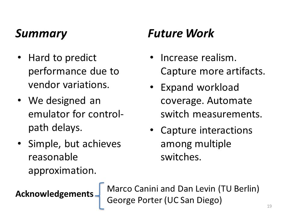 Summary Future Work. Future work: # Recall long list of vendor variations like flow table sizes and flow mgt policies. Capture those.