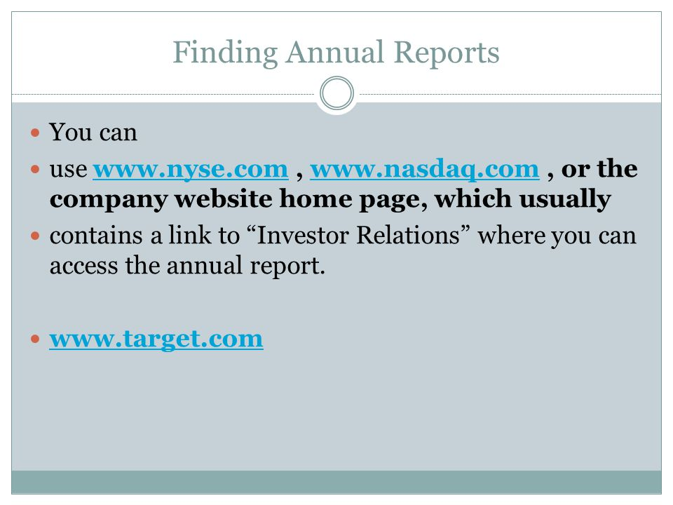 Finding Annual Reports