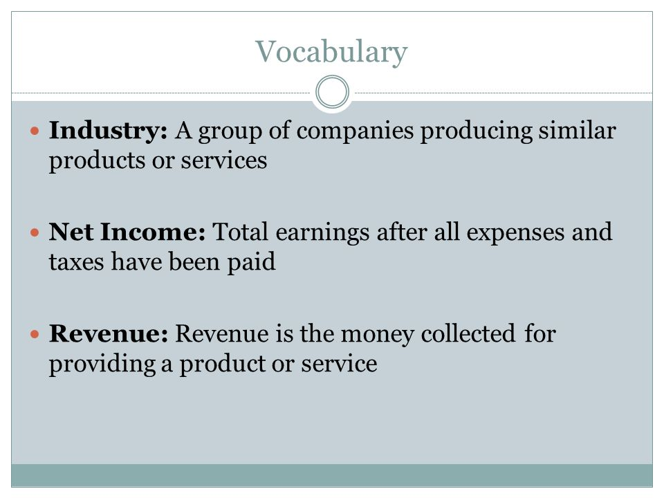 Vocabulary Industry: A group of companies producing similar products or services.