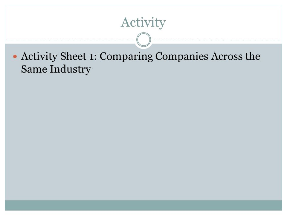 Activity Activity Sheet 1: Comparing Companies Across the Same Industry