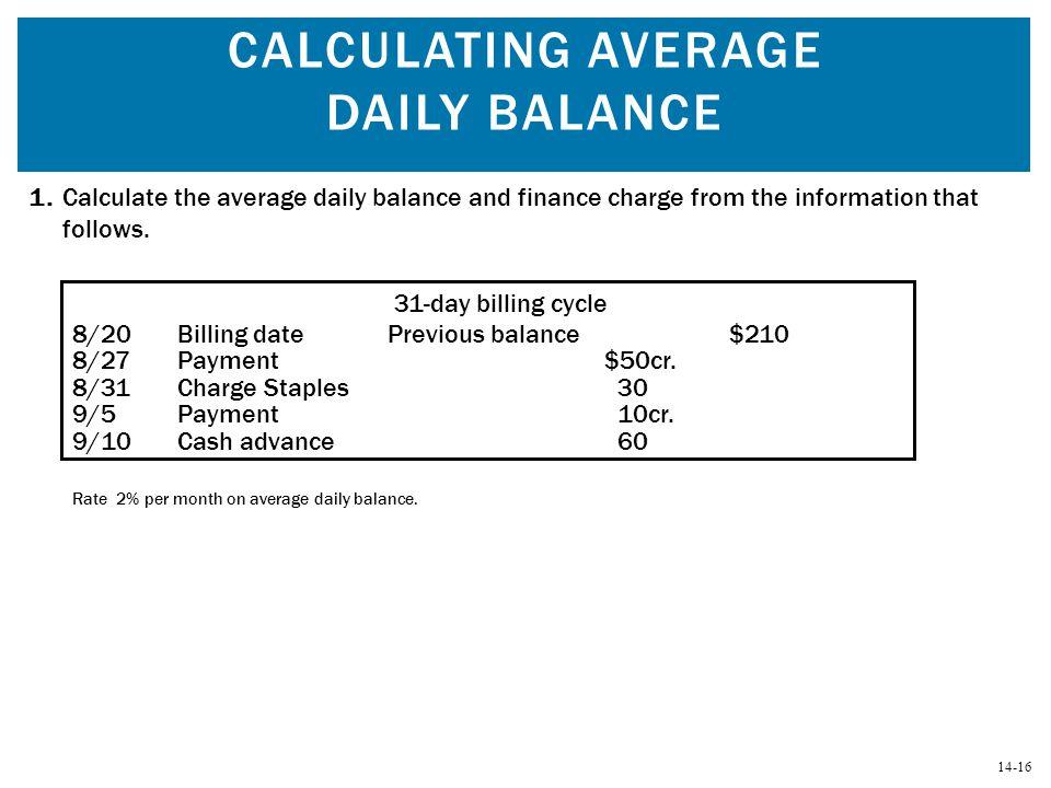Calculating Average Daily Balance