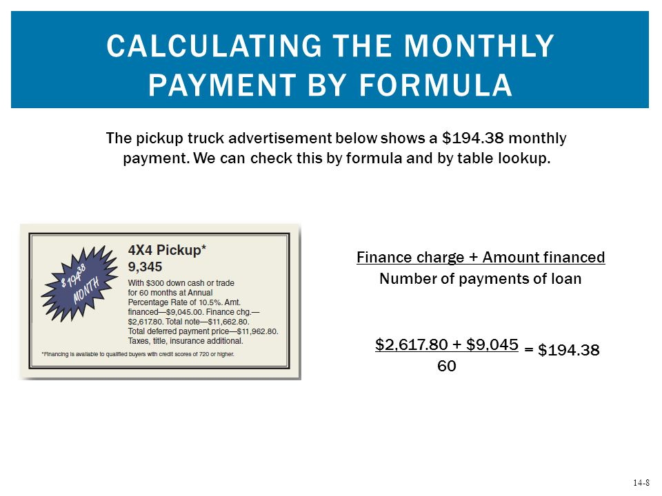 Calculating the Monthly Payment by Formula