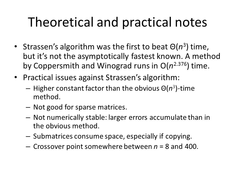 Theoretical and practical notes