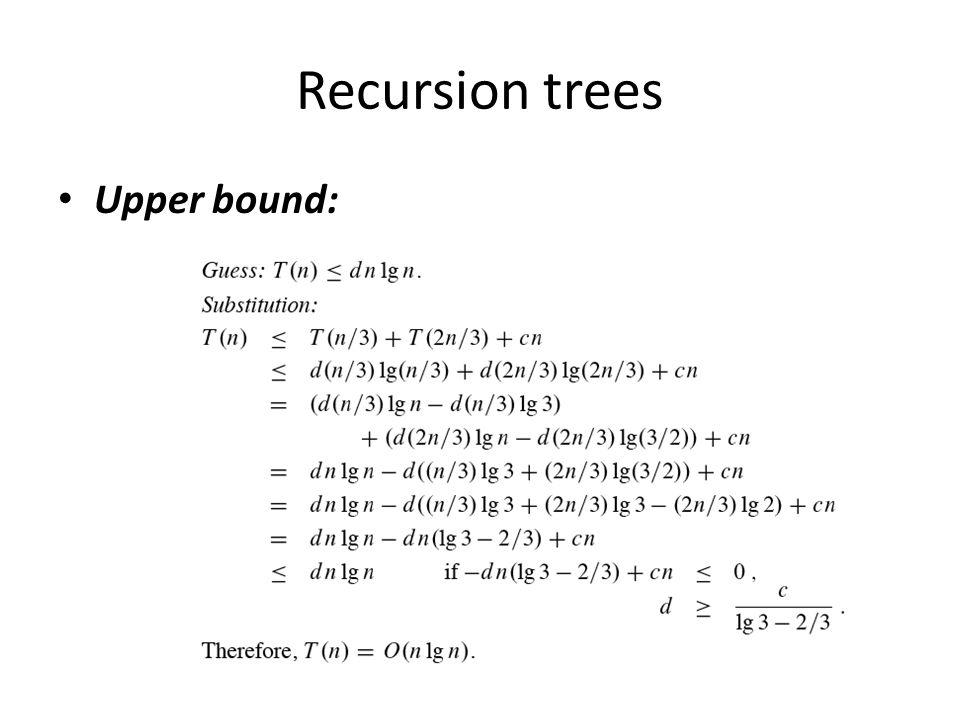 Recursion trees Upper bound: