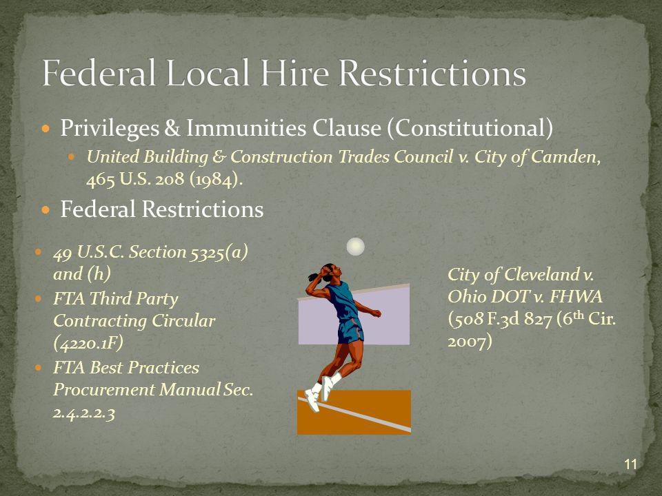 Federal Local Hire Restrictions