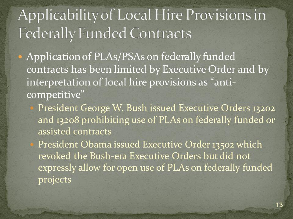 Applicability of Local Hire Provisions in Federally Funded Contracts