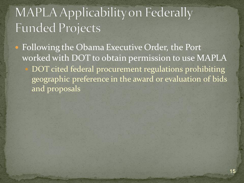 MAPLA Applicability on Federally Funded Projects