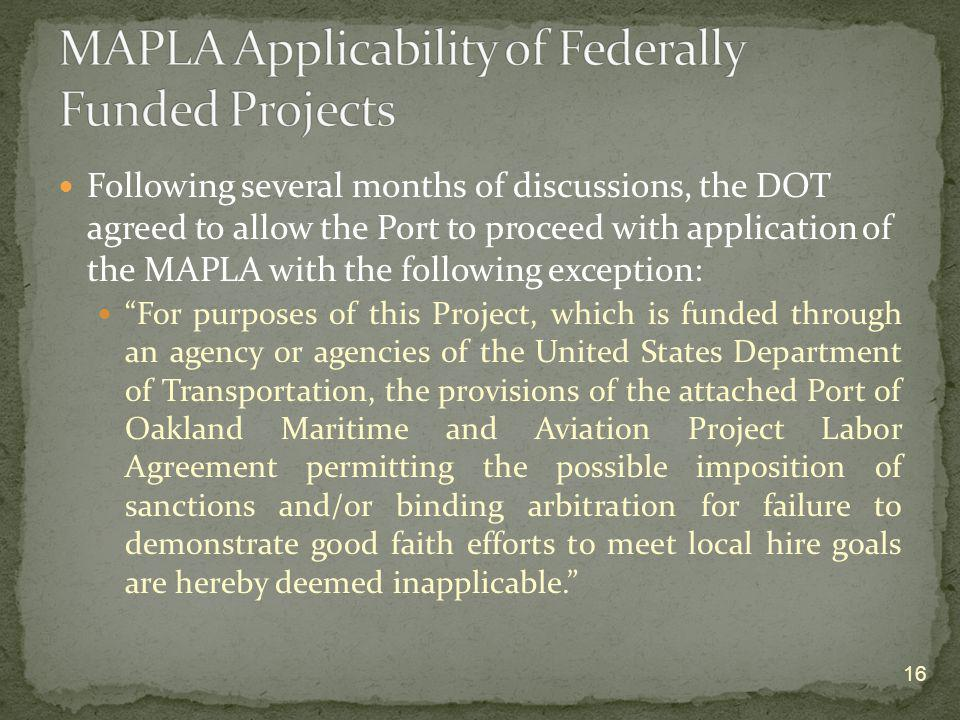 MAPLA Applicability of Federally Funded Projects