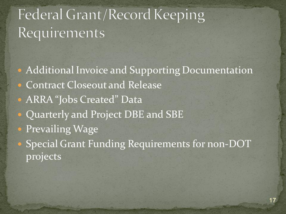 Federal Grant/Record Keeping Requirements