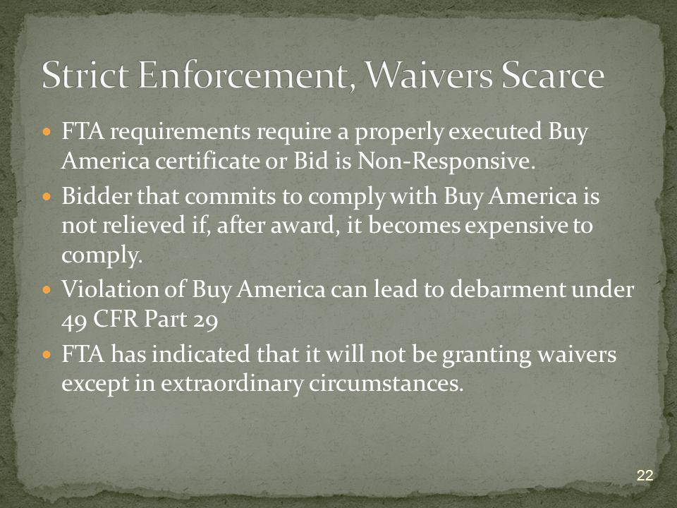 Strict Enforcement, Waivers Scarce