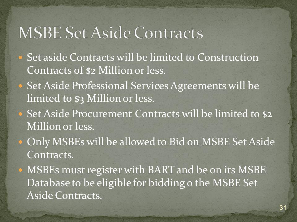 MSBE Set Aside Contracts