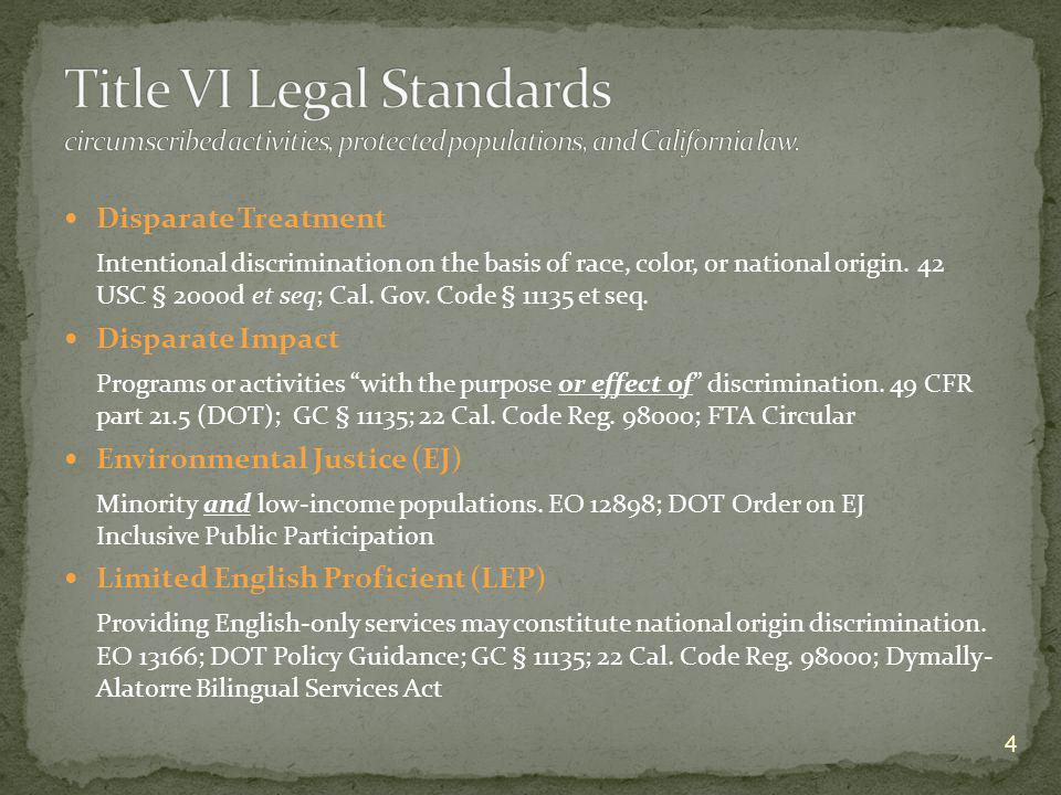 Title VI Legal Standards circumscribed activities, protected populations, and California law.