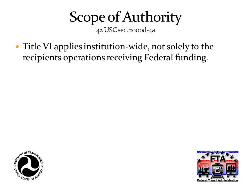 Scope of Authority 42 USC sec. 2000d-4a