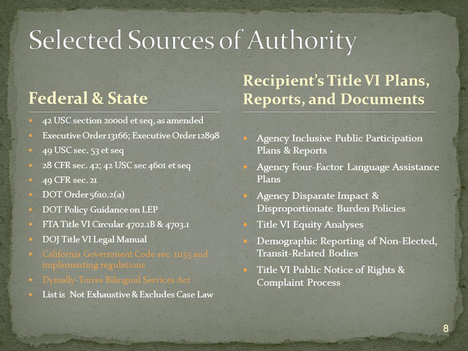 Selected Sources of Authority