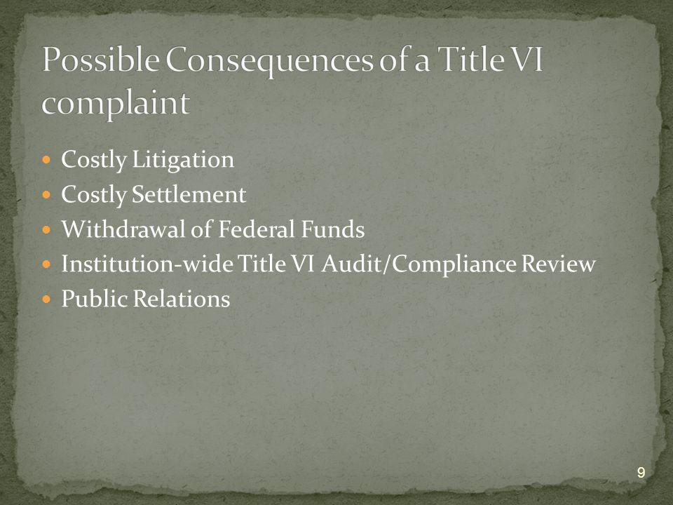 Possible Consequences of a Title VI complaint