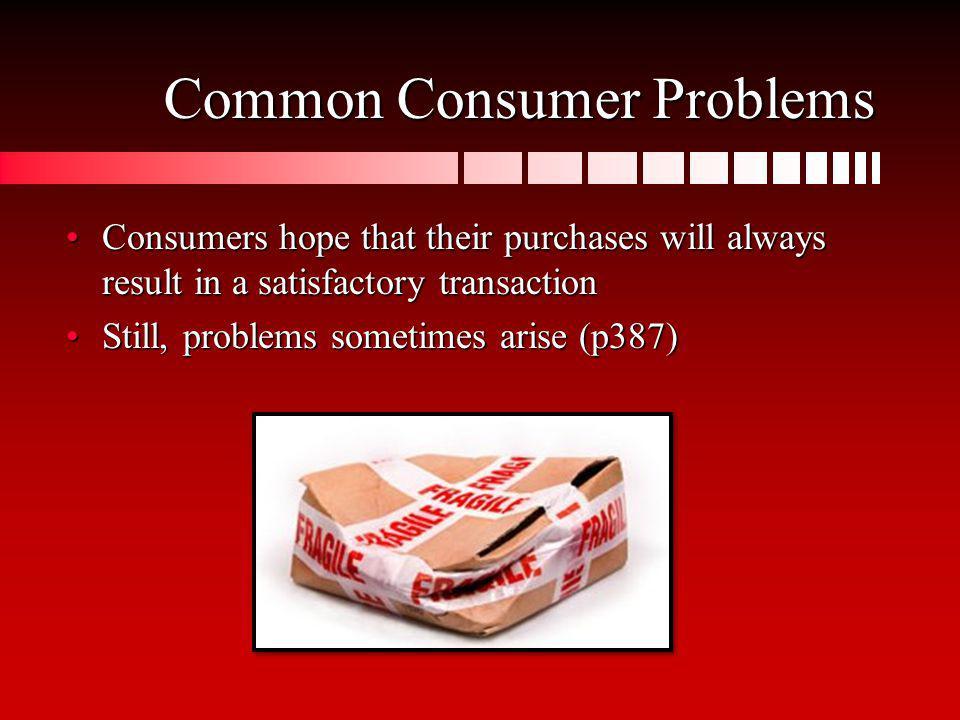 Common Consumer Problems