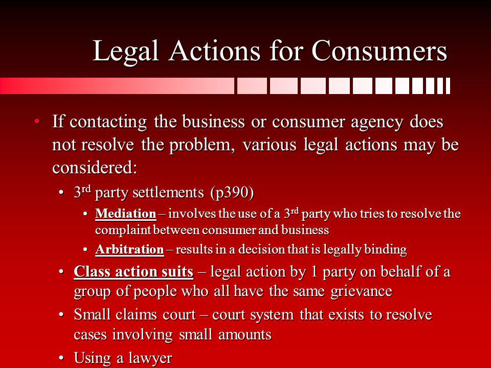 Legal Actions for Consumers