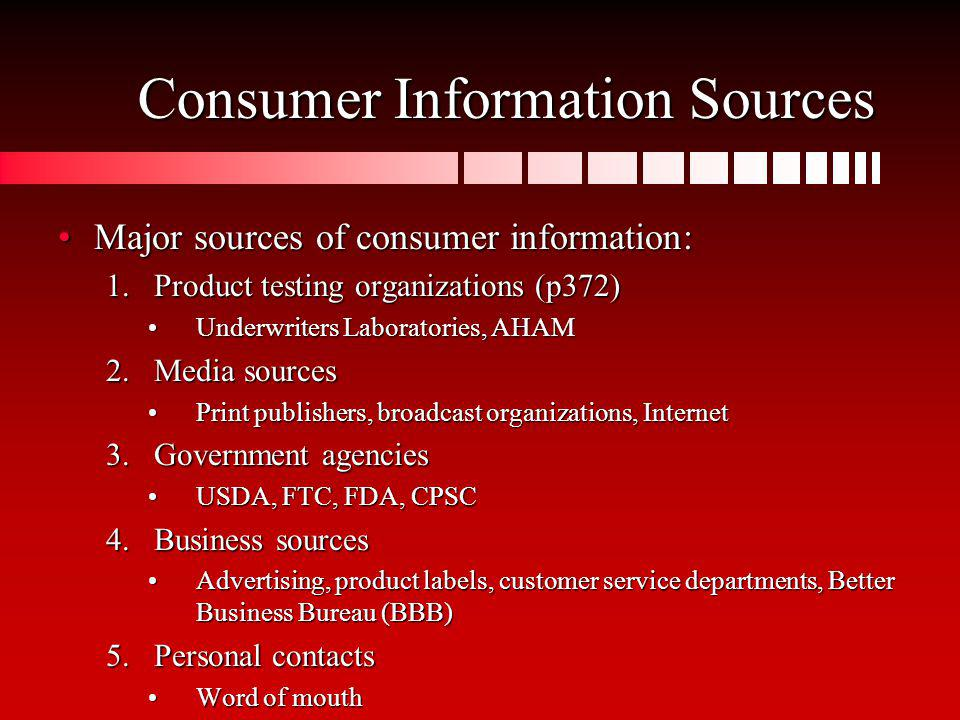 Consumer Information Sources