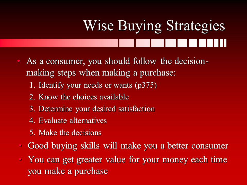 Wise Buying Strategies