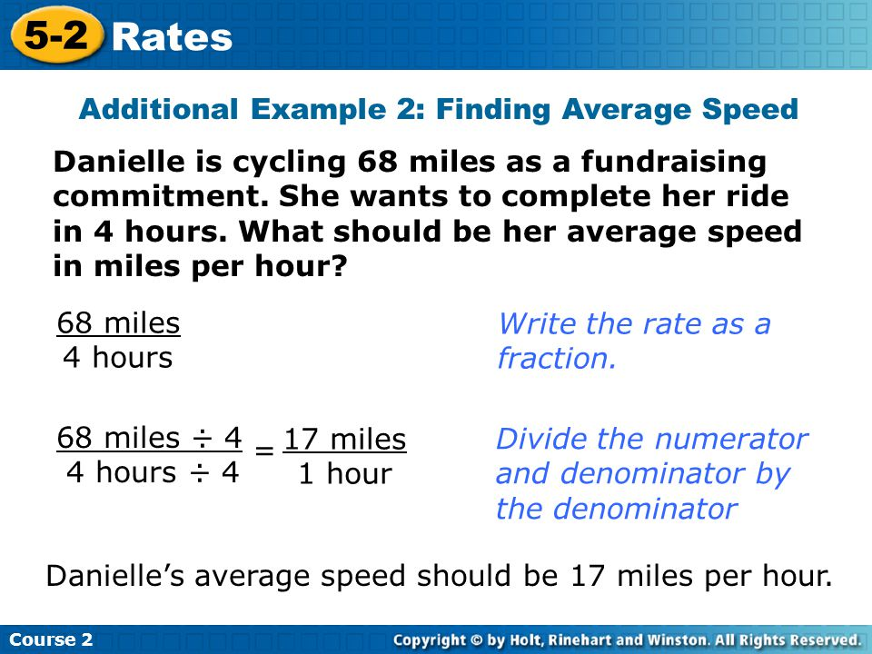 Additional Example 2: Finding Average Speed