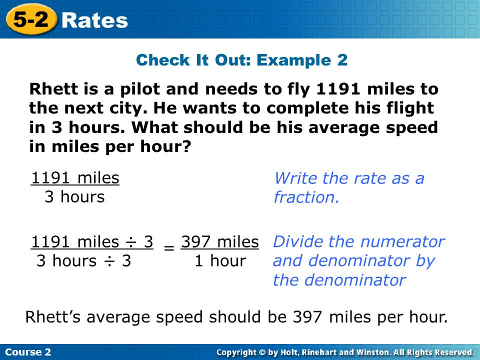 5-2 Rates Check It Out: Example 2
