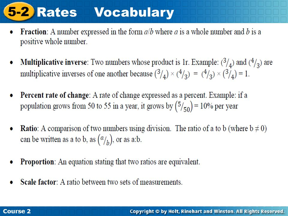 Course 2 5-2 Rates Vocabulary