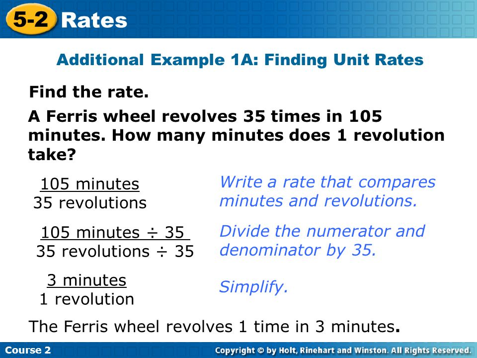 Additional Example 1A: Finding Unit Rates