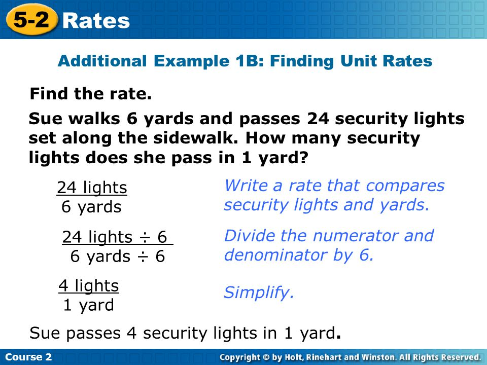 Additional Example 1B: Finding Unit Rates