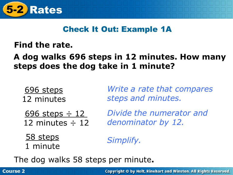 5-2 Rates Check It Out: Example 1A Find the rate.