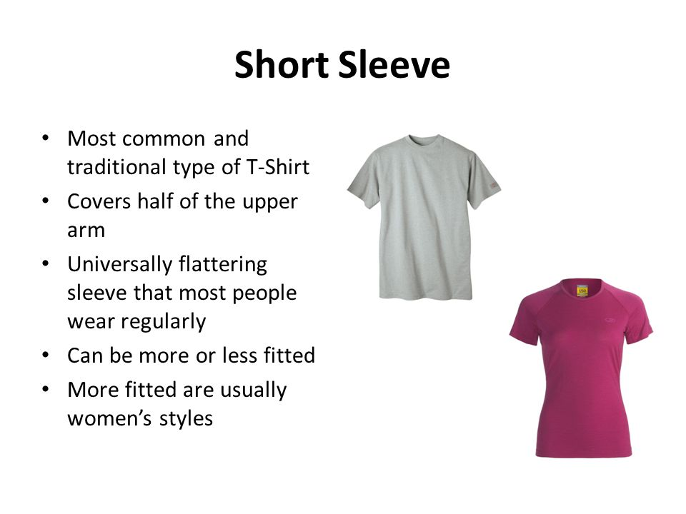 Short Sleeve Most common and traditional type of T-Shirt