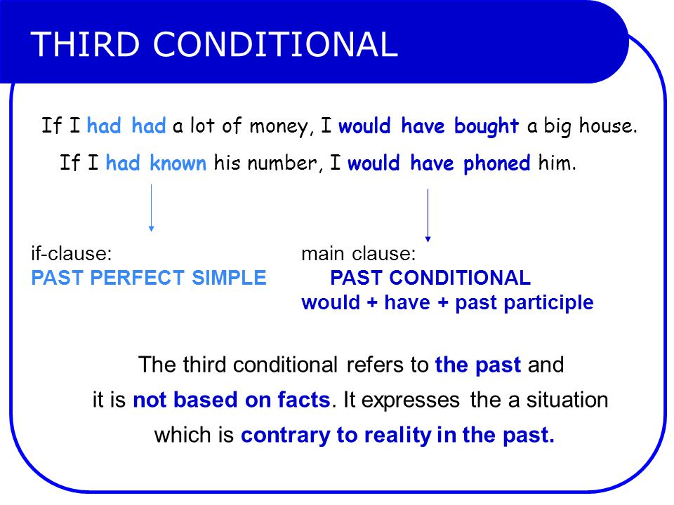 THIRD CONDITIONAL The third conditional refers to the past and