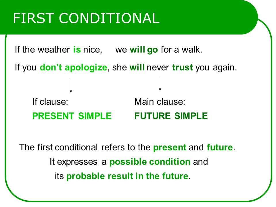 FIRST CONDITIONAL If the weather is nice, we will go for a walk.